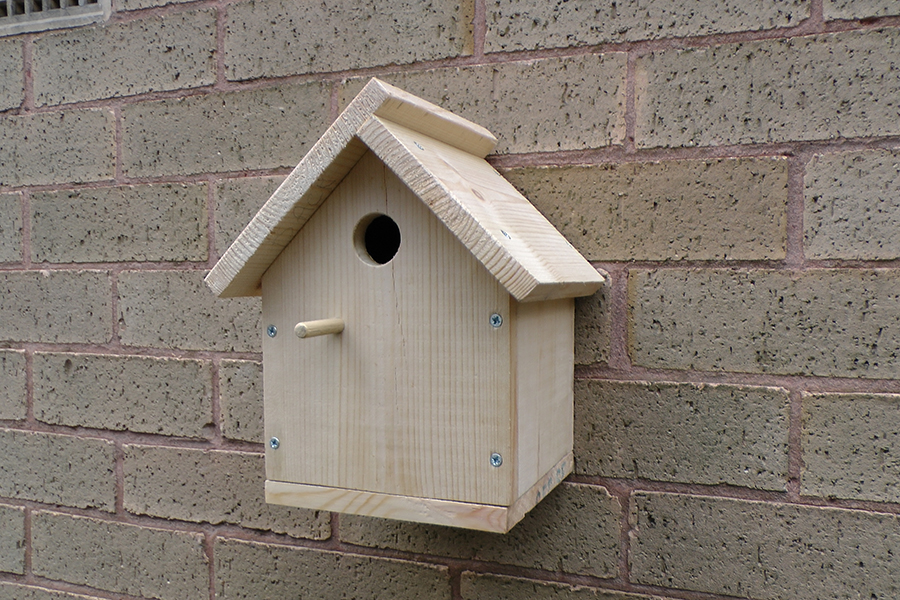 A nest box for birds like blue tits and coal tits
